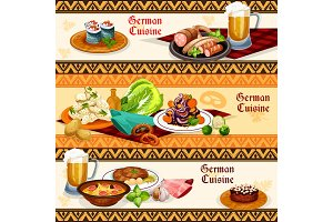German cuisine restaurant or pub menu banner set