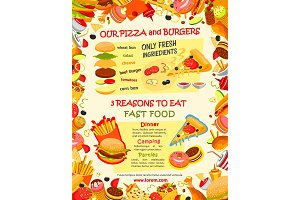 Fast food burger and pizza menu template