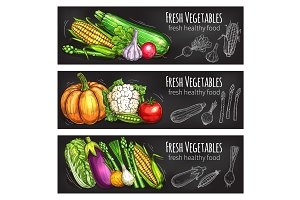 Vegetable and bean chalkboard banner, food design