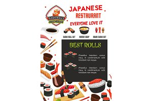 Sushi menu banner template of japanese restaurant