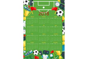 Soccer calendar template of football sport game