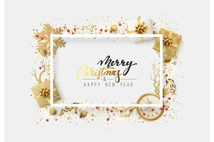 Christmas bright background with golden Xmas decorations.