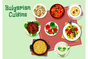 Bulgarian cuisine dinner menu icon for food design