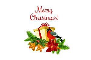 Merry Christmas greeting vector wreath icon