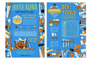 House repair work tool, hand instrument poster set