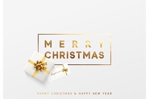 Merry Christmas gold lettering in a frame background