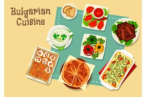 Bulgarian cuisine icon design with national food