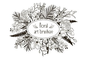 Vector Floral Flexible Art Brushes Collection