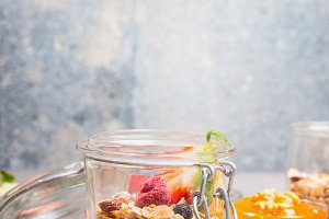 Healthy breakfast in jar