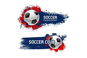 Soccer ball banner set, football sport game design