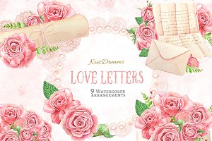 Love Letter Watercolor Clipart