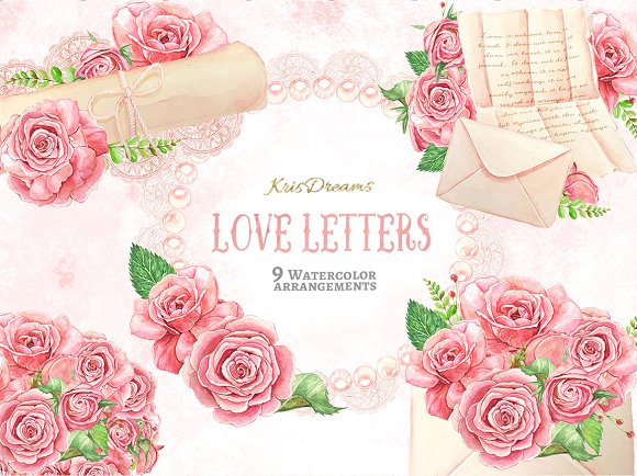 Love Letter Watercolor Clip-Graphicriver中文最全的素材分享平台