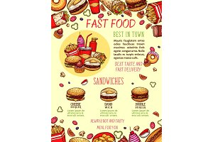 Fast food burger and sandwich menu banner template