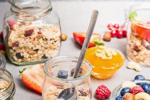 Healthy breakfast in glass jars