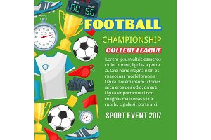 Football championship poster of soccer sport game