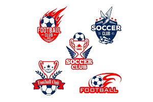 Football sport club, soccer game competition badge