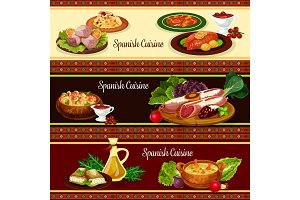 Spanish cuisine meat and seafood dish banner set