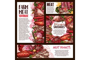 Meat and sausage product banner template set