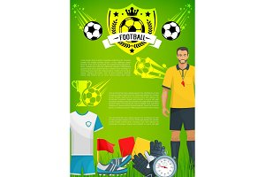 Football sport game banner with soccer club badge
