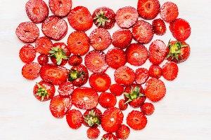 Heart shape sliced strawberries