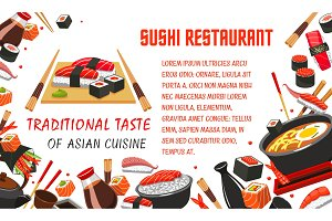 Japanese sushi restaurant banner of asian food