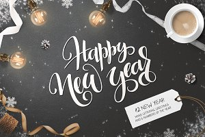 New Year 2018 lettering collection