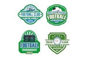 Football sport club, soccer championship badge set