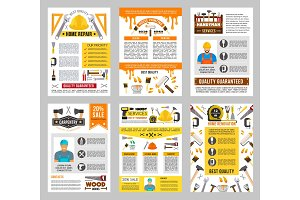House repair tool banner set, construction design
