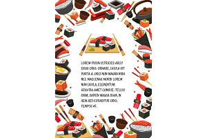Japan food, seafood sushi banner template design