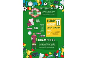 Soccer or football championship match banner