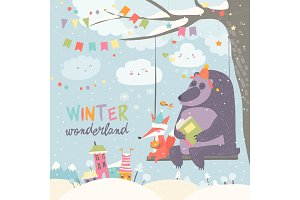 Funny bear and fox swinging in winter park