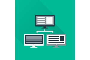 three Monitors in abstract concept with information analytics in flat style with shadow.