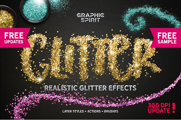 GLITTER PRO Styles, Actions, Brushe…