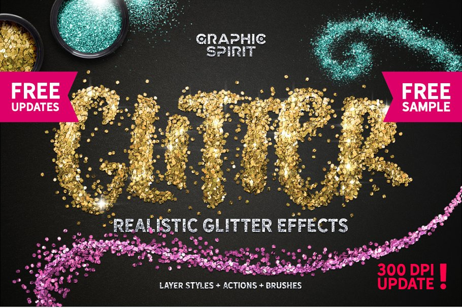 GLITTER PRO Styles, Actions, Brushes ~ Photoshop Add-Ons
