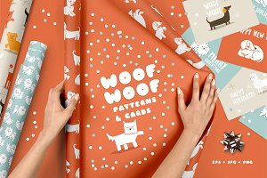 WOOF! WOOF! Patterns & Cards
