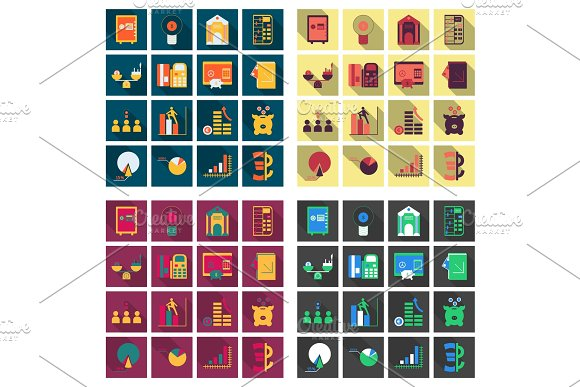 Set Of Business Simple Icons Economic Concept In Flat Style With Long Shadow