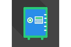 Metal bank safe vector icon in a flat style. Closed safe isolated on a colored background. Concept of the icon safe shadow at the bottom. Simple illustration of the safe.