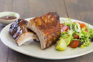 Pork ribs with barcecue sauce