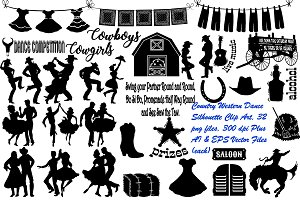 Country Dance Silhouette AI EPS PNG