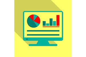 Monitors in abstract concept with information analytics in flat style with shadow.