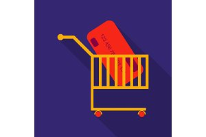 Supermarket shopping cart with credit card isolated background with shadow