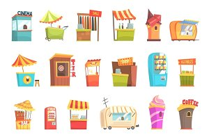 Fair And Market Street Food And Shop Kiosks, Small Temporary Stands For Sellers Set Of Cartoon Illustrations