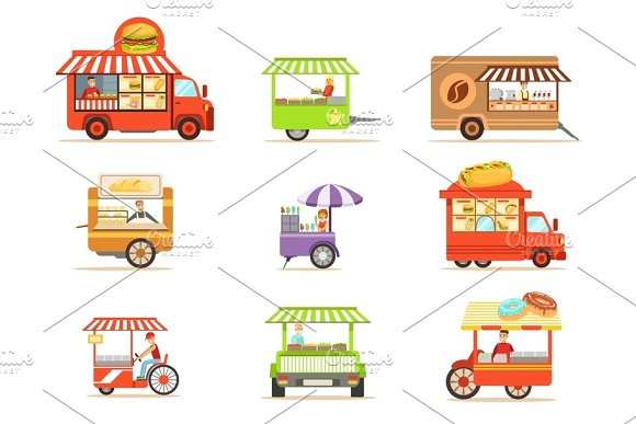 Street Food Kiosk Collection On Wheels And Without With Smiling Vendor Serving Fast Food Vector Illustrations