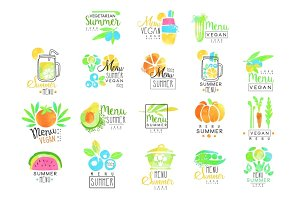 Summer vegetarian menu set for logo design. Collection of colorful Illustrations