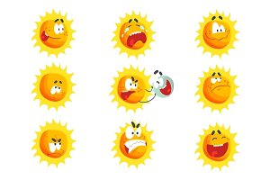 Cute cartoon sun various emoticons. Emotional face set of colorful characters vector Illustrations