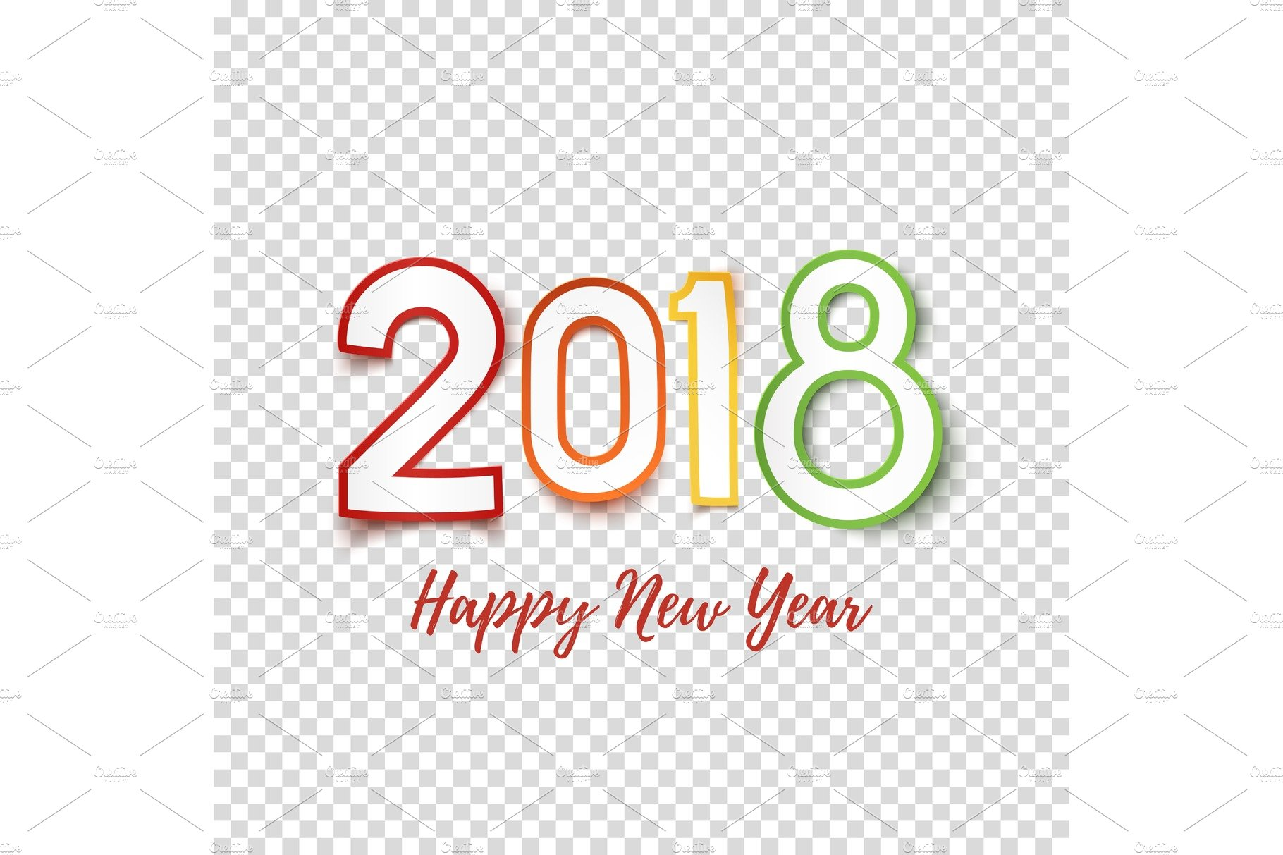 Happy New Year 2018. ~ Graphic Objects ~ Creative Market