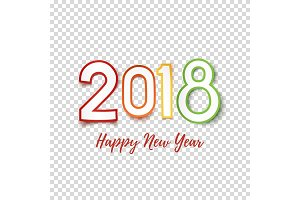 Happy New Year 2018 greeting card template.