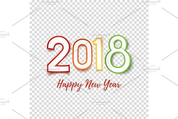happy new year 2018 greeting card template objects