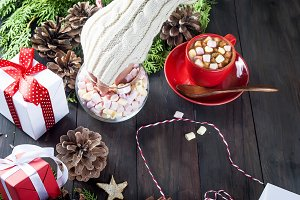fir branches, cones, gift box, cocoa