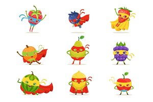 Superhero Fruits In Masks And Capes Set Of Cute Childish Cartoon Humanized Characters In Costumes